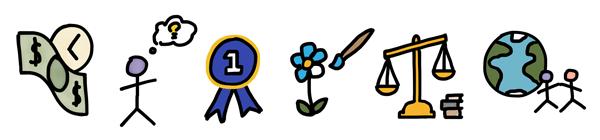 Motivators Icons - Economic, Utilitarian, Power, Aesthetic, Regulatory, Humanitarian